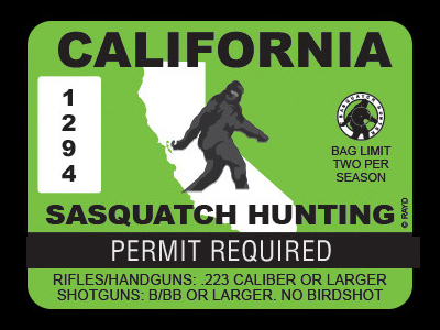 California Bigfoot Hunting Permits