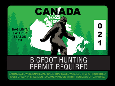Canada Bigfoot Hunting Permits
