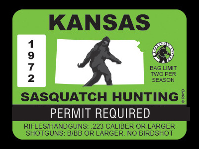 Bigfoot hunting permit bigfoot gifts toys for Ks fishing license