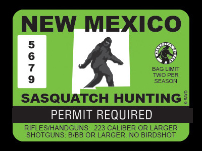 Bigfoot hunting permit bigfoot gifts toys for New mexico fishing license