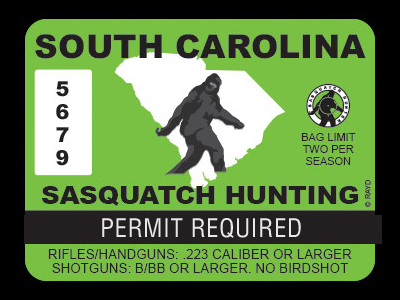 South Carolina Bigfoot Hunting Permits